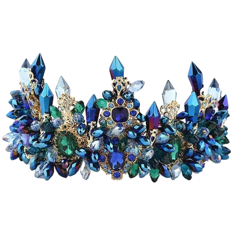 Wiipu Luxury Blue Crystal Royal Headpiece Tiara Rhinestone Crown,5.9'' Diameter(A1387) (Blue)
