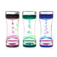 BESTOMZ 3 Pcs Sablier Liquide/Huile Sablier Liquid-sabliers colorés à bulles Timer, Pretty Waist Desk Decor Cadeau d'anniversaire Jouet pour enfants