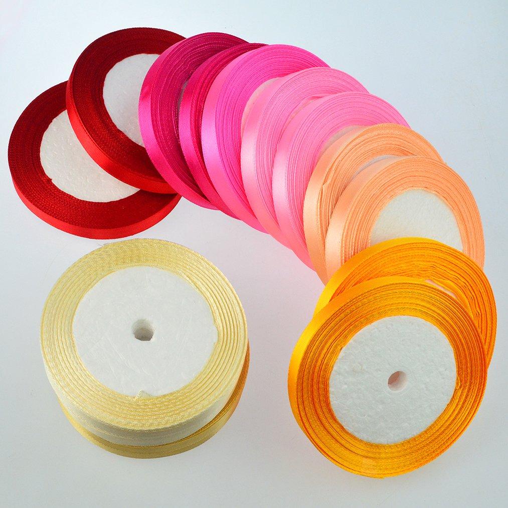 16 Colors 800 Yard Satin Ribbons, baotongle Fabric Ribbon Silk Satin Roll Satin Ribbon Rolls, Satin Ribbon Fabric Ribbon Embellish Ribbon Ribbon for Bows Crafts Gifts Party Wedding 32 Rolls by baotongle (Image #5)