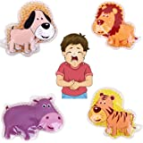 """FOMI Kids Fun Pain Relieving Hot Cold Boo Boos Ice Packs. 4-Pack. Animal Designs. Multi-Use Children's Gel Bead pack for Neck, Knee, Ankle, Arm, Hand, Thigh, Leg. (4"""" x 3"""" each)"""