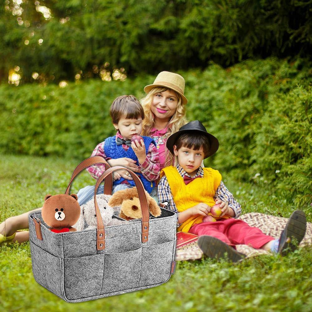 Tragbare Filz Baby Windel Caddy Ardorman Windel Caddy Organizer Windel Veranstalter Lagerung Mit Langen Griff Tragen grau Gro/ße Lagerung Auto Reiseveranstalter Toy Organizer
