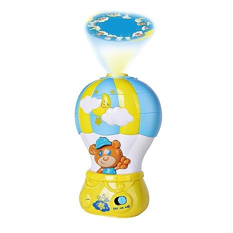 Happkid Globo aerostático con proyector y melodías Luz de bebé para dormir