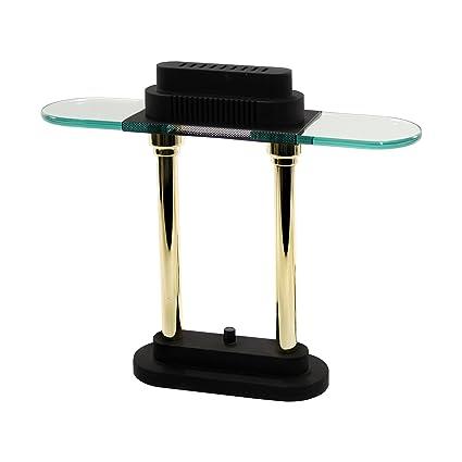 Charmant LEDU Halogen Desk Lamp, 15 Inch Height, Black/Brass Poles (L9074