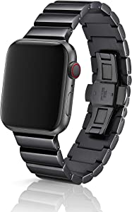 42/44mm JUUK Ligero Obsidian Premium Watch Band Made for The Apple Watch, Using Aircraft Grade, Hard Anodized 6000 Series Aluminum with a Solid Stainless Steel Butterfly deployant Buckle (Polished)
