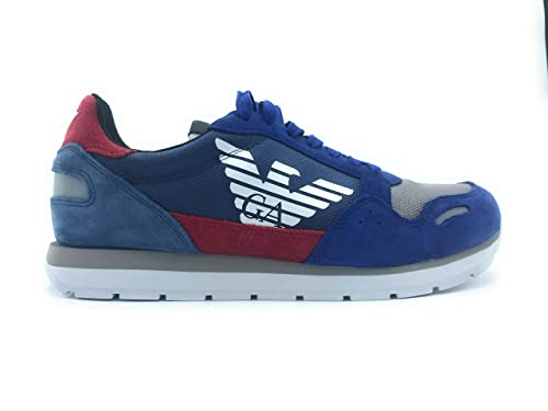 Emporio Armani Sneakers in Pelle Scamosciata con Logo Laterale Uomo Blu N  43M a40e8738d4f
