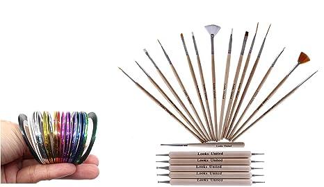 Buy Looks United 15 Wooden Nail Art Brush 5 Two Way Dotting Tool