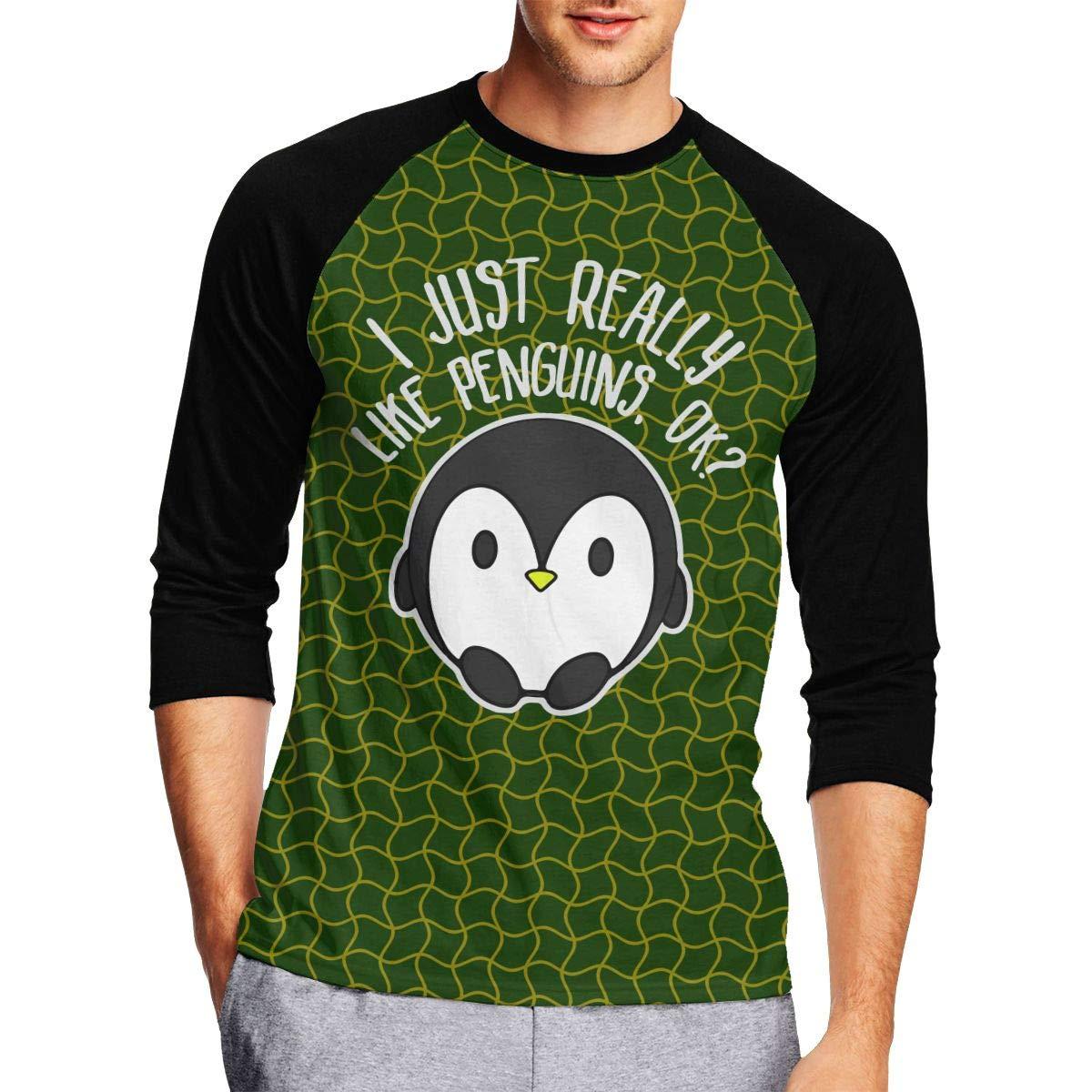 DFGHJZH-L I Just Really Like Penguins Ok Mens Fashion Adult Long-Sleeved T-Shirt