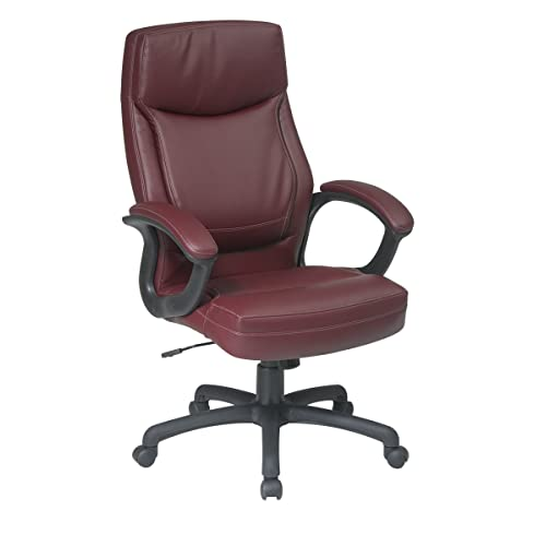 Executive Eco Leather Chair with Color Match Stitching Red