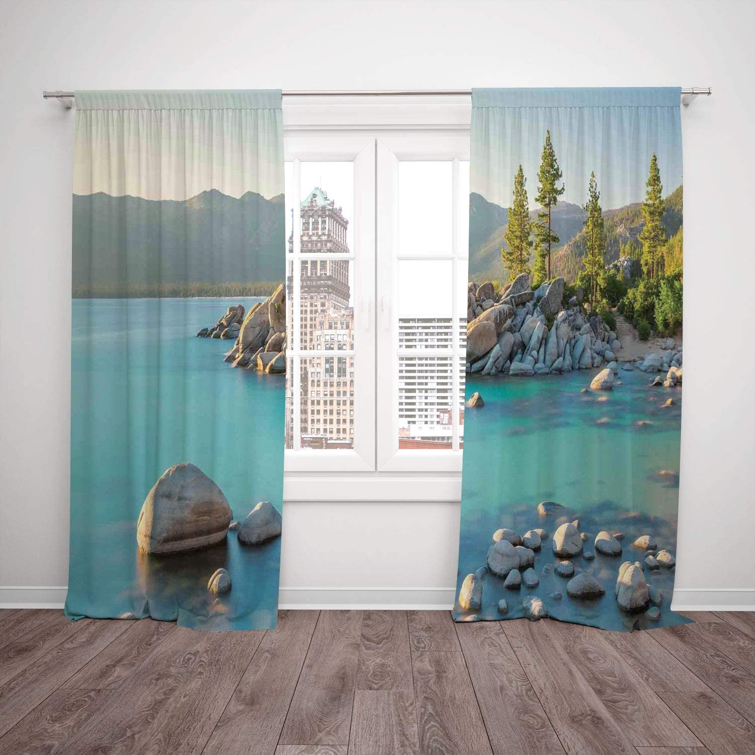 2 Panel Set Window Drapes Kitchen Curtains Lake Pastoral Spring Time Scenery In Provincial Countryside Lake Beach Shallow Water Theme Blue Grey For Bedroom Living Room Dorm Kitchen Cafe Amazon Co Uk Kitchen Home