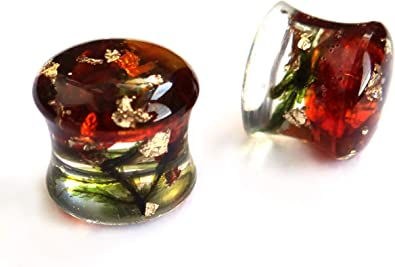 Pierced Owl Imitation Amber Double Flared Solid Saddle Plugs Sold as a Pair