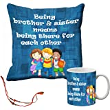 meSleep Blue Brother & Sister Rakhi Cushion (With Filling) and Mug Combo With Beautiful Rakhi's