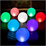 HAPIKAY Solar Floating Pool Lights - Pack of 1 Solar Powered Color Changing 14-inch Balls - Float or Hang in Pool Garden…