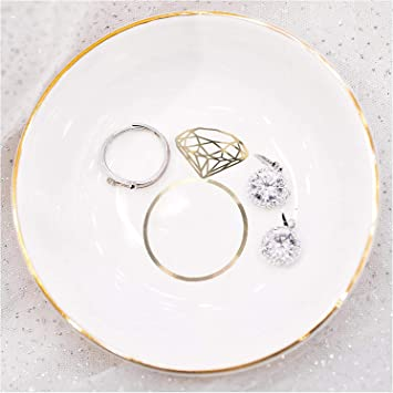 White Porcelain Jewelry Tray Engagement Gift for New Bride I Said Yes Ring Dish
