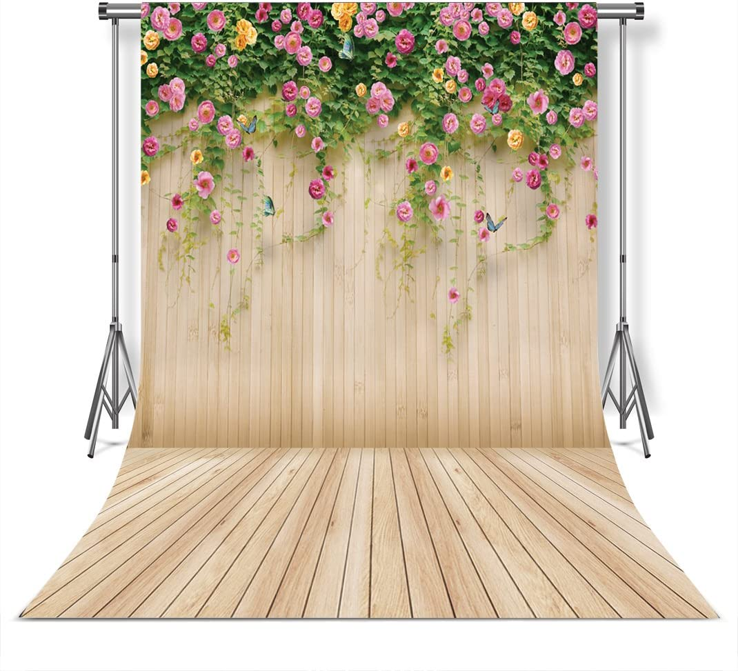 WOLADA 5x7ft Spring Photo Backdrop Wood Wall Backdrops Photography Props Pink Flowers Wooden Floor Backgrounds for Lover Wedding Party Children Decoration Background Prop 8909