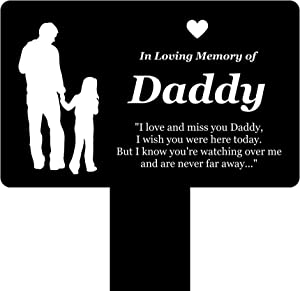 OriginDesigned in Loving Memory of Daddy - Engraved Memorial Stake with Poem and Daddy & Daughter Illustration (Gold/Silver/Copper or Black & White Plaque) (Black & White)