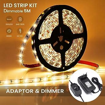 Ambother Led Streifen Warmweiss 5m 300 Led Lichtband Mit Netzteil