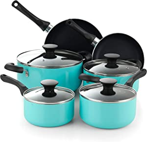Cook N Home 10 Piece Nonstick Cookware Set, Turquoise