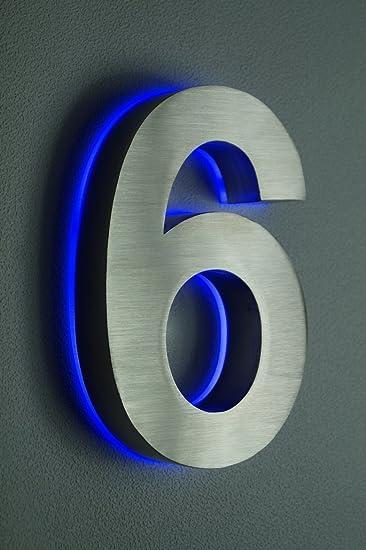 XAPTOVi 20cm Hausnummer Edelstahl Nr 6 beleuchtet Blaues LED. 12Volt ...
