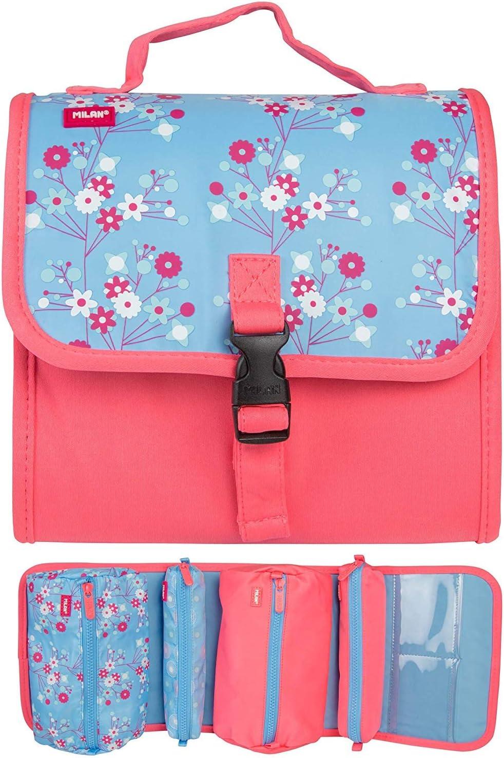 Milan Blossom - Estuche con 4 compartimentos y material escolar, para 38 unidades: Amazon.es: Oficina y papelería