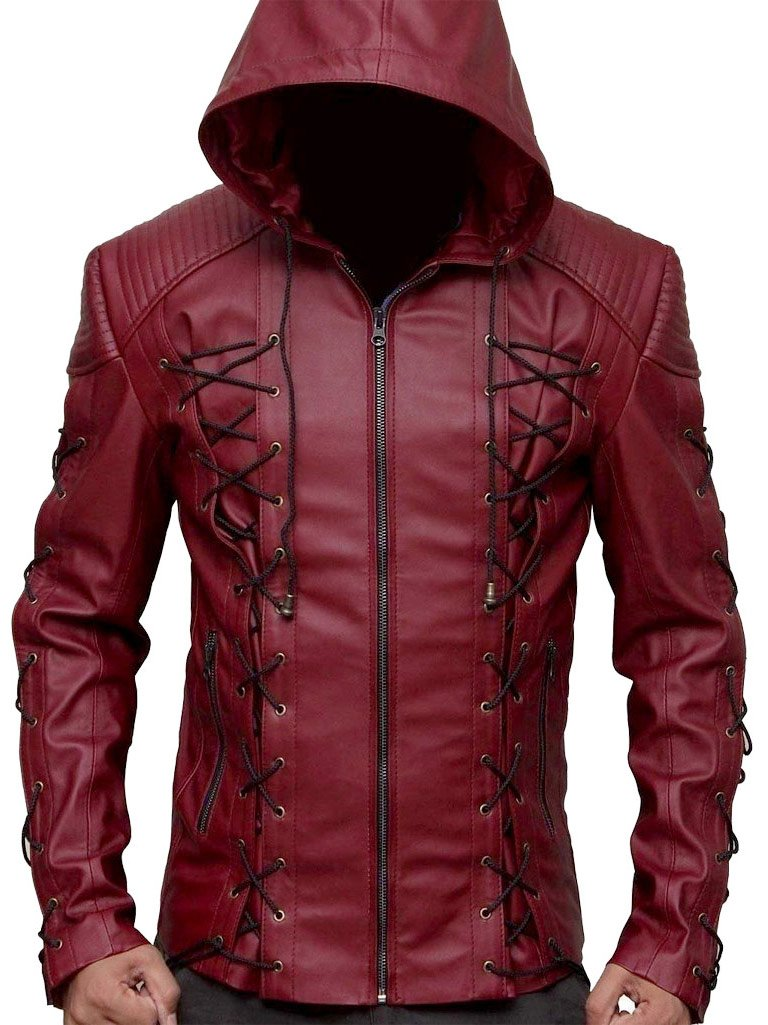 ABz Leathers Superhero Collection Of Jackets/Coats/Vests-Available In Different Designs and Colors (XXL, Red-Arrow-Jacket-Real-Leather)