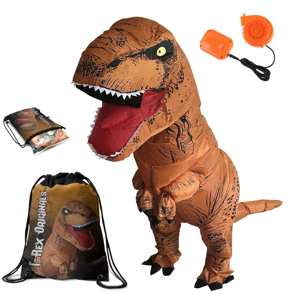 Dinosaur Costume Adult T-Rex Inflatable Suit with Exclusive Brown Dino Drawstring Bag