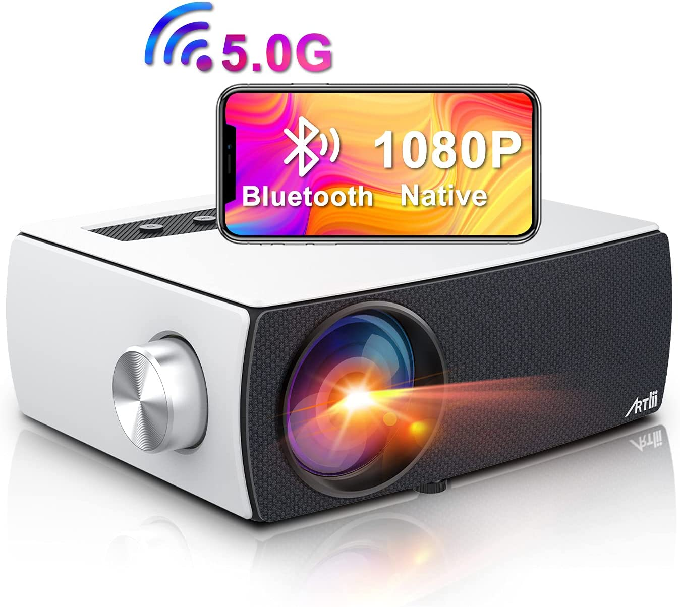 Portable 5G WiFi Bluetooth Projector, Artlii Enjoy 3 Native 1080P Outdoor Projector, Full HD Projector Supports Zoom & Keystone, Compatible with TV Stick/iOS/Android/PS4/PPT/HDMI/USB