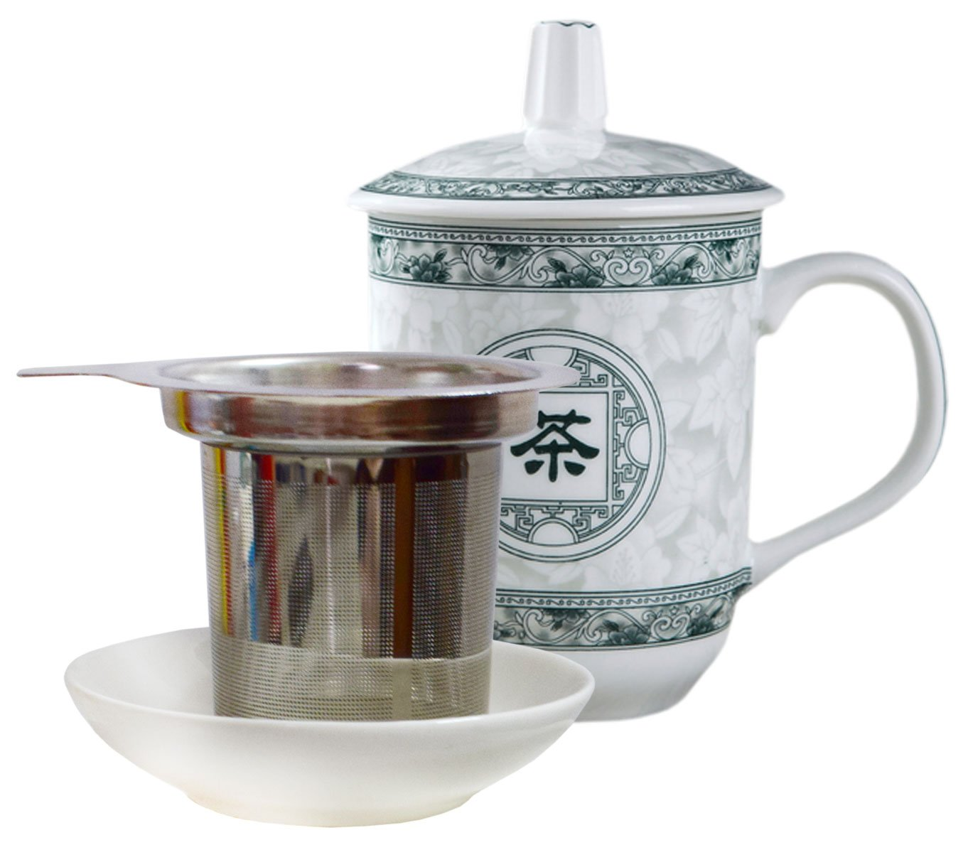 BandTie Convenient Travel Office Loose Leaf Tea Brewing System-Chinese Gongfu Tea Maker Ceramics Tea Cup Stainless Steel Infuser 4-Piece Set with Tea Cup Lid and Saucer,Tea Word