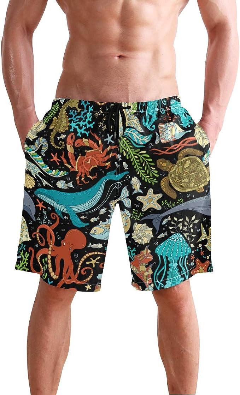 Stars Pattern Mens Beach Shorts Swim Trunks Stripe Quick Dry Casual Polyester Swim Shorts