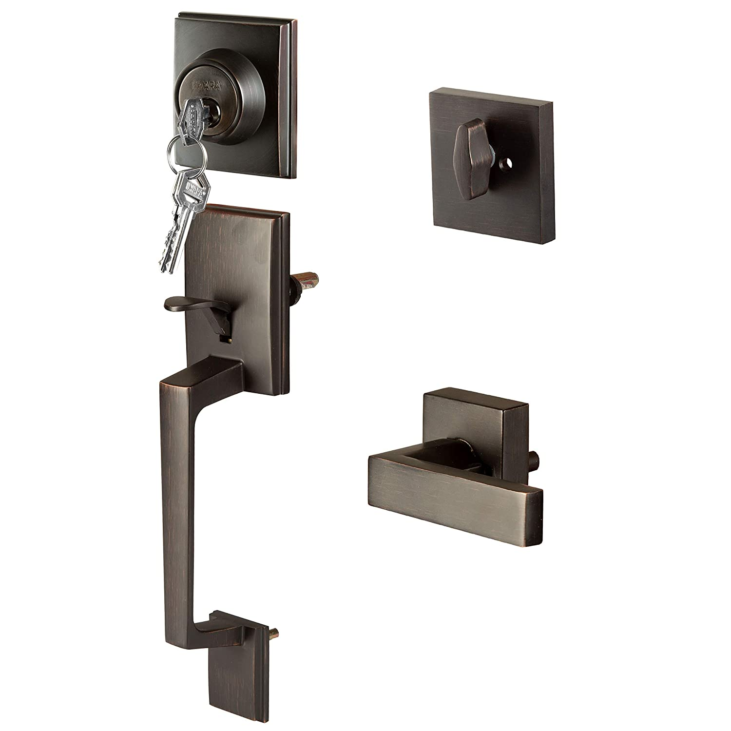 Modern Style Front Door Exterior Handleset Lock Set Handle Hardware With Single Cylinder Deadbolt Lock And Halifax Lever Low Profile Contemporary Design Improved Oil Rubbed Bronze Finish Amazon In Home Improvement