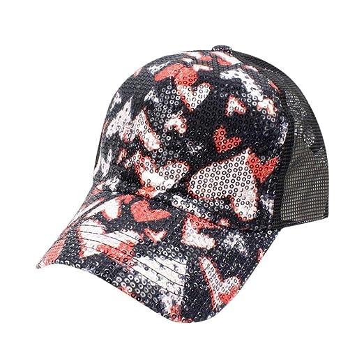281f015b480 Luca Fashion New Women Summer Heart Sequins Diamond Baseball Caps Snapback  Caps Trucker Hip Hop Hats