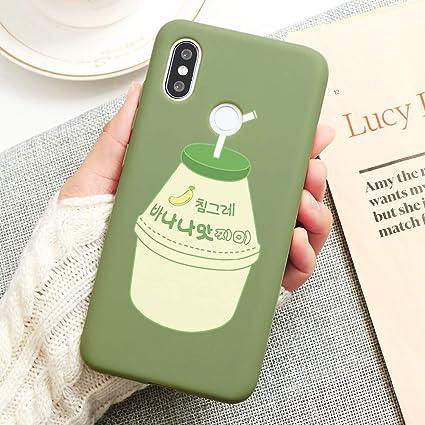 Image of Pnakqil Funda Xiaomi Mi 9 SE Silicona con Dibujos Suave Carcasa Color Ultra Fina y Ligero Antigolpes Gel TPU Matte Piel Caso Goma Bumper Protectora Cover para Xiaomi Mi 9SE, Beber - Verde Pastel