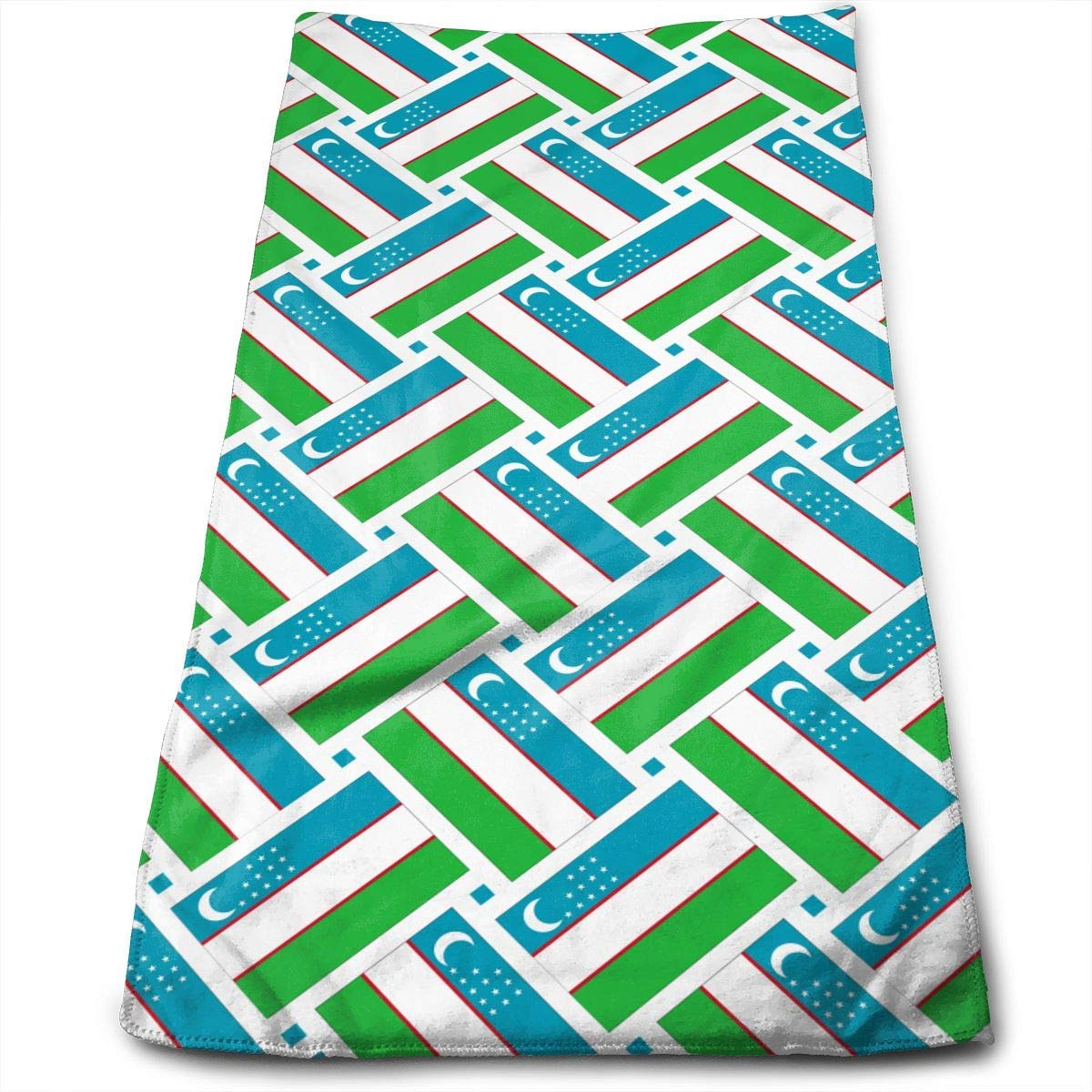 Hand Towels Uzbekistan Flag Weave Highly Absorbent Quick-Dry Towels for Hand Face Gym and SPA 12' X 27.5'