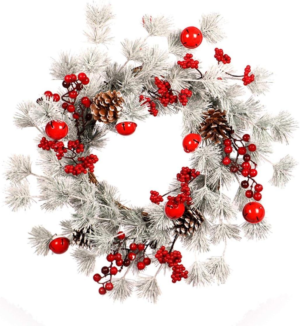 Guirnaldas De navideñas, Navidad Campanas de Agujas de Pino Blanco Círculo de ratán Guirnalda Simulación de Navidad Conos de Pino Fruta roja Escaleras de Puerta Principal Ornamento para Colgar,A,22In: Amazon.es: Hogar