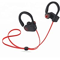 Wireless Bluetooth Earbuds Headphones, Neckband w/mic, Hands Free Noise Cancelling, IPX7 Waterproof Sweatproof, Black on Red, Great for Running, Jogging, Hiking, Biking, Gym 6 Hrs Play Time, Fast Charge