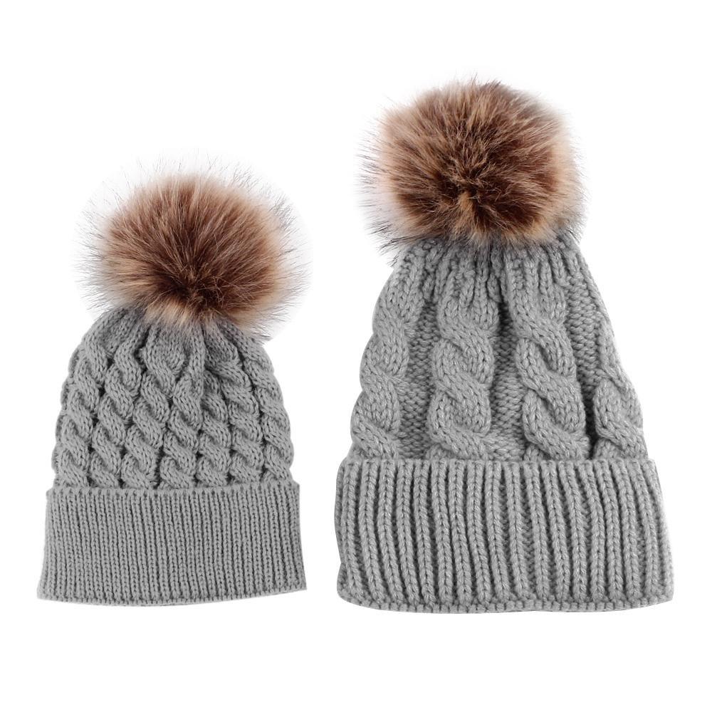 niceEshop(TM) Mom and Baby Winter Wool Knitting Beanie Fur Pom Bobble Hats
