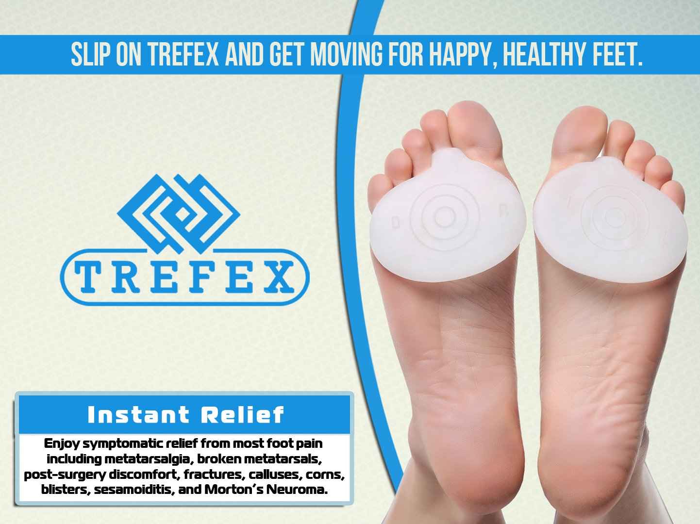 TREFEX™ Flex Fit Metatarsal Gel Pad Insole for Pain Relief on the Ball of  the Foot in Athletes and Suffers of Symptomatic Foot Pain - 2 Pieces