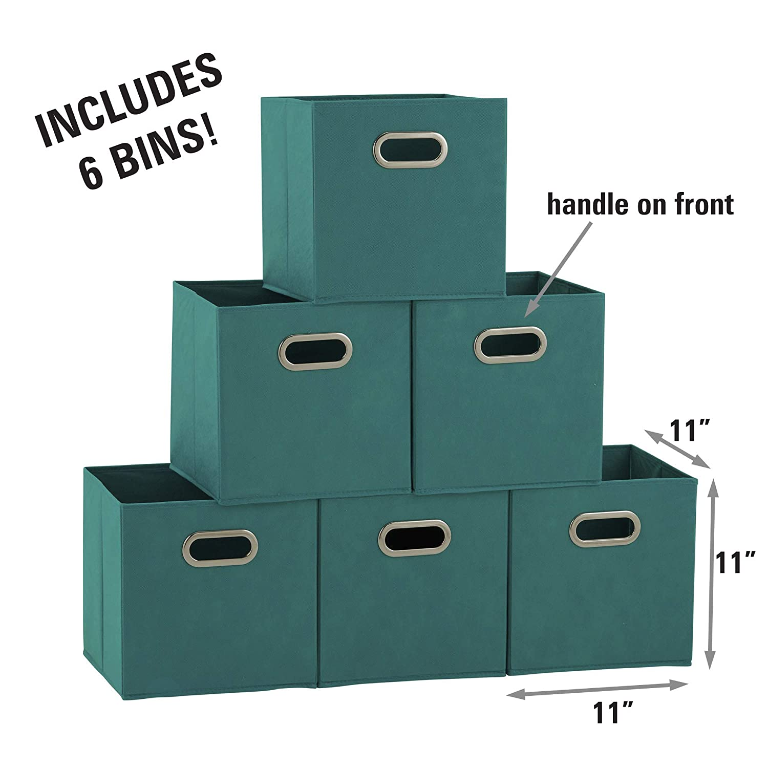 a186d76835d2 Household Essentials 83-1 Foldable Fabric Storage Bins | Set of 6 Cubby  Cubes with Handles | Aqua, 6 lbs,