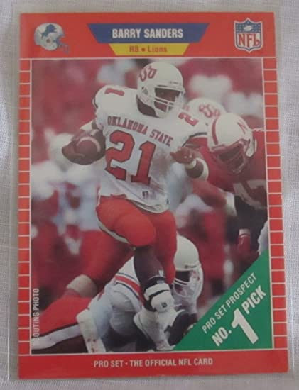 Barry Sanders Nfl Rookie Card 1989 Pro Set Prospect No 1