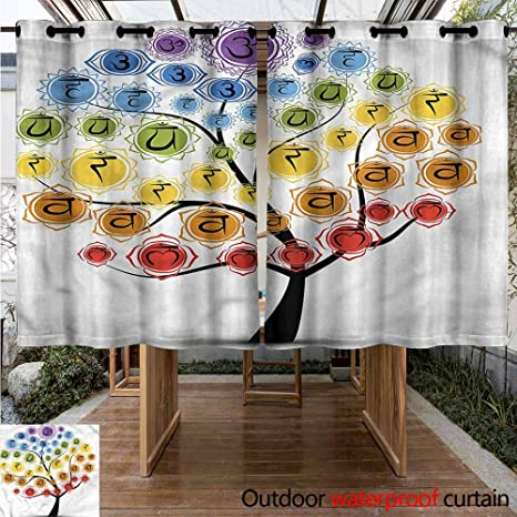 Amazon.com : Sunnyhome Grommet Curtain Chakra Yoga Tree with ...
