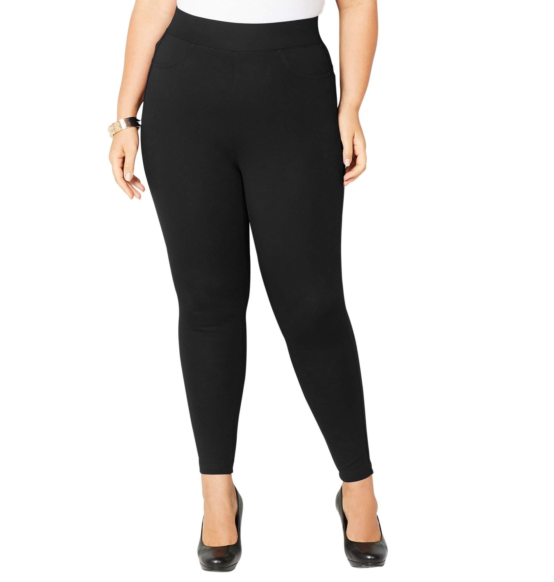 Avenue Women's Wide Waist Ponte Legging, 26/28 Black