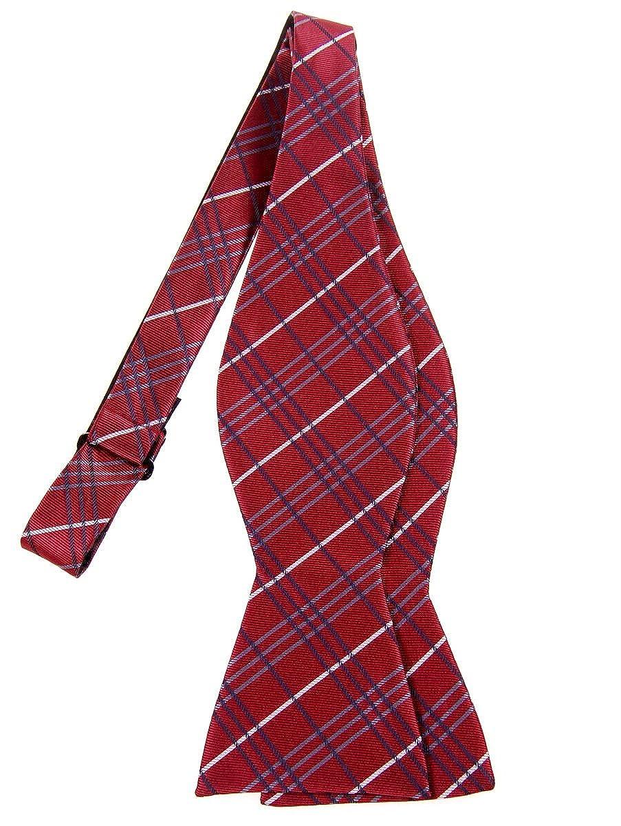 Retreez Tartan Plaid Check Styles Woven Microfiber Self Tie Bow Tie