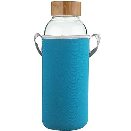 Ferexer Botella de Agua de Cristal con Tapa de bamb/ú Funda de Neopreno 1500 ml 1,5 L