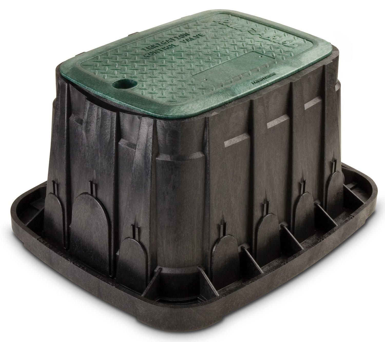 Rain Bird VBREC12 Rectangular Sprinkler Valve Box, Black with Green Lid, 12'' High