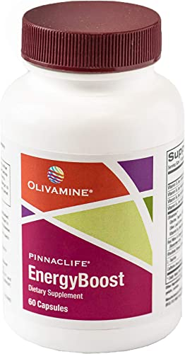 Olivamine Pinnaclife EnergyBoost with Taurine, Rhodiola, Vitamin B12, Caffeine, and Olive Leaf Extract 60 Capsules