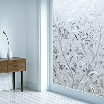 OMG_Shop Waterproof Window Film Frosted Tulip Flower Contact Paper  Decorative Film Home Bedroom Bathroom Window Glass