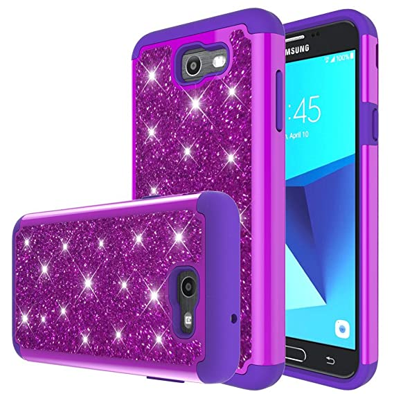 Galaxy J7 Sky Pro Case,Galaxy J7 Perx Case,J7 V,J7 Prime,J7V,Galaxy Halo Case,Yiakeng Waterproof Hard Slim for Girls Women Wallet Phone Case Cover for ...