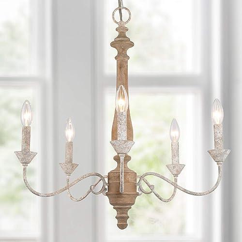 LOG BARN Farmhouse Chandelier - a good cheap dining room chandelier