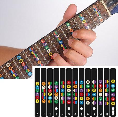 SHHOMELL Guitar Fretboard Notes Map Labels Sticker Fingerboard Fret Decals for 6 String Acoustic Electric Transparent