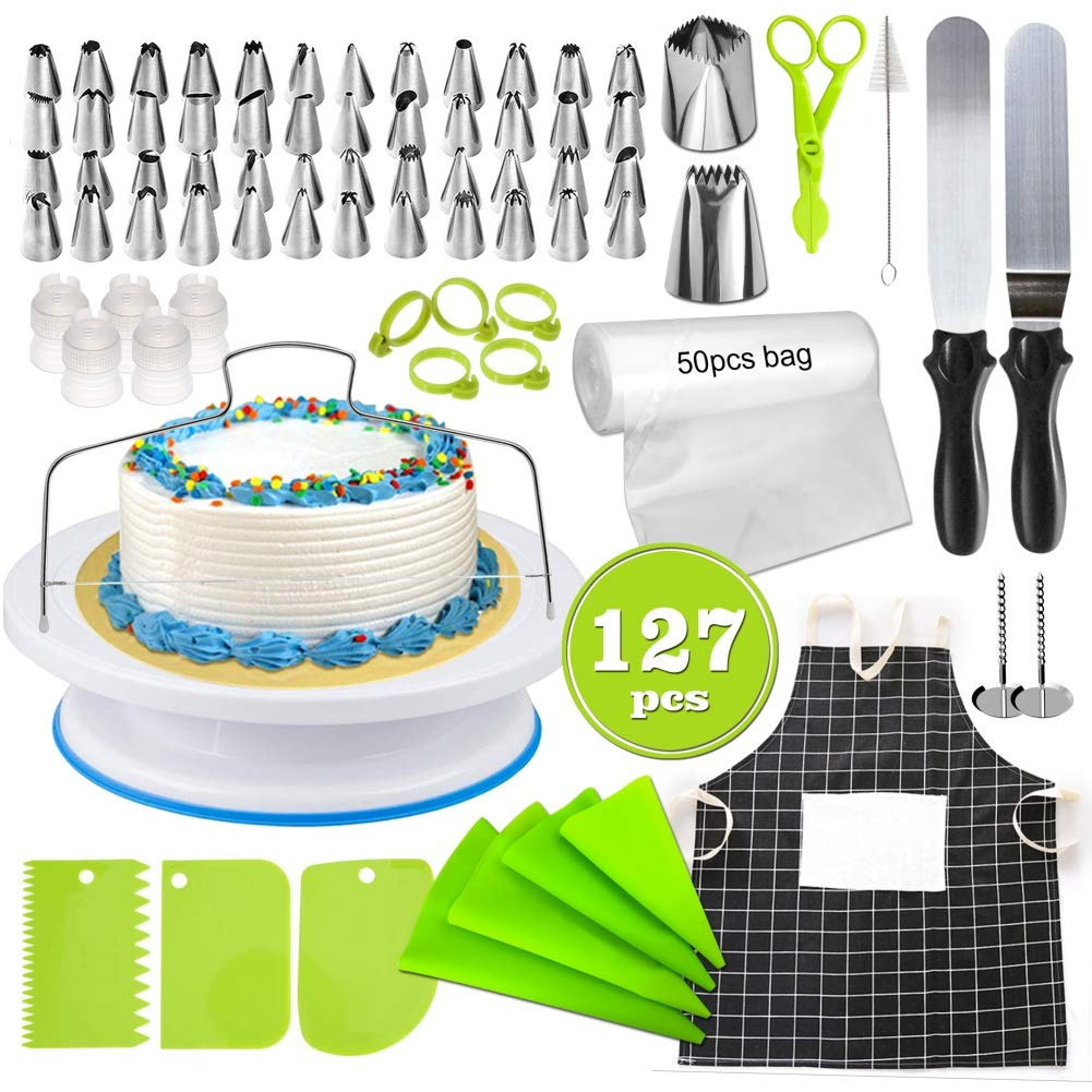 NewPinky 127-Piece Cake Decorating Kit Supplies With Turntable Stands, Apron, Icing Tips, Pastry Bags, Icing Smoother Spatula, Cake Slicer, Flower Lifter For Cake Decoration Baking Accessories