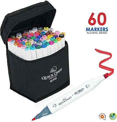 60 Colors Art Markers Set by Quick Craft USA Perfect for Drawing Coloring Safe for Kids Comes with Black Carrying case. Dual Tip Alcohol Based Permanent Markers Sketching and Illustration